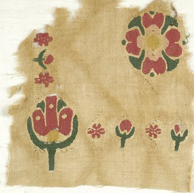 Coptic. Textile, 5th-6th century C.E. Flax, wool, 7 1/2 x 7 1/2 in. (19.1 x 19.1 cm). Brooklyn Museum, Charles Edwin Wilbour Fund, 38.667. Creative Commons-BY