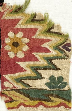Coptic. Textile Fragment, 5th-6th century C.E. Flax, wool, 7 1/4 x 4 1/4 in. (18.4 x 10.8 cm). Brooklyn Museum, Charles Edwin Wilbour Fund, 38.668. Creative Commons-BY