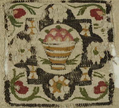 Coptic. Textile, 5th-6th century C.E. Flax, wool, 11 1/2 x 12 in. (29.2 x 30.5 cm). Brooklyn Museum, Charles Edwin Wilbour Fund, 38.681. Creative Commons-BY