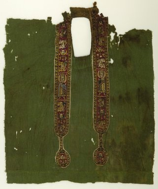 Coptic. Green Tunic - Front with Decorated Bands, 6th - 8th century C.E. Wool, possibly silk, 31 1/2 x 10 5/8 in. (80 x 27 cm). Brooklyn Museum, Charles Edwin Wilbour Fund, 38.748. Creative Commons-BY
