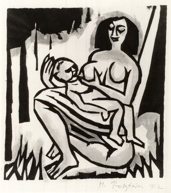 Max Pechstein (German, 1881-1955). Mother and Child (Mütter und Kind), 1912. Hand-colored woodcut in green, rose, and black on Japan paper, Image: 7 3/4 x 7 1/4 in. (19.7 x 18.4 cm). Brooklyn Museum, By exchange, 38.795