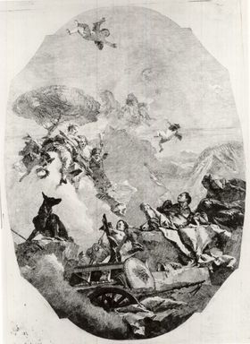 Lorenzo Tiepolo (Italian, 1736-1776). Une Deesse Apparaissant a un Guerrier. Etching on wove paper, Image: 21 7/8 x 15 11/16 in. (55.5 x 39.9 cm). Brooklyn Museum, Museum Collection Fund, 39.13