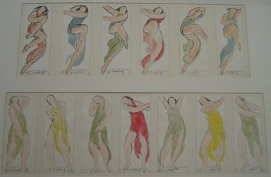 Abraham Walkowitz (American, born Russia, 1878-1965). Isadora Duncan #38. Watercolor, pen, ink, 6 3/4 x 2 5/8 in. (17.1 x 6.7 cm). Brooklyn Museum, Gift of the artist, 39.183