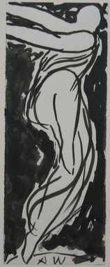 Abraham Walkowitz (American, born Russia, 1878-1965). Dancer, n.d. Brush drawing with India ink on paper, Sheet: 6 3/4 x 2 5/8 in. (17.1 x 6.7 cm). Brooklyn Museum, Gift of the artist, 39.468c