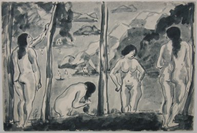 Abraham Walkowitz (American, born Siberia, 1878-1965). Bathers, 1915. Wash drawing with brush and ink on paper mounted to paper, Sheet (mount): 10 3/16 x 13 1/8 in. (25.9 x 33.3 cm). Brooklyn Museum, Gift of the artist, 39.488
