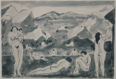 Abraham Walkowitz (American, born Siberia, 1878-1965). Nude Figures in a Landscape, 1917. Pen and ink wash on paper, Sheet: 6 7/8 x 10 in. (17.5 x 25.4 cm). Brooklyn Museum, Gift of the artist, 39.489