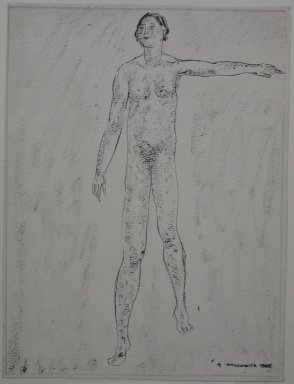 Abraham Walkowitz (American, born Siberia, 1878-1965). Nude Figure with Left Arm Raised, 1905. Pen and ink with brush shading on paper, Sheet: 9 7/16 x 7 1/8 in. (24 x 18.1 cm). Brooklyn Museum, Gift of the artist, 39.490
