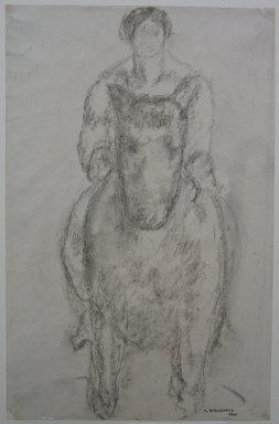 Abraham Walkowitz (American, born Siberia, 1878-1965). Man on Horseback, 1904. Charcoal on paper, Sheet: 12 5/16 x 8 in. (31.3 x 20.3 cm). Brooklyn Museum, Gift of the artist, 39.492