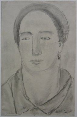 Abraham Walkowitz (American, born Siberia, 1878-1965). Head of Woman with Earrings, 1908. Drawing in charcoal, partly washed on paper, Sheet: 11 1/16 x 7 1/8 in. (28.1 x 18.1 cm). Brooklyn Museum, Gift of the artist, 39.499