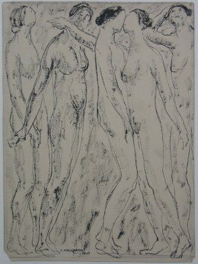 Abraham Walkowitz (American, born Siberia, 1878-1965). Nude Figures, 1907. Ink and graphite on paper, Sheet: 9 7/16 x 6 15/16 in. (24 x 17.6 cm). Brooklyn Museum, Gift of the artist, 39.510