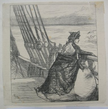 James Abbott McNeill Whistler (American, 1834-1903). The Mayor's Daughter, 1862. Wood engraving on Japan tissue, Sheet: 5 1/4 x 5 5/16 in. (13.3 x 13.5 cm). Brooklyn Museum, Dick S. Ramsay Fund, 39.618