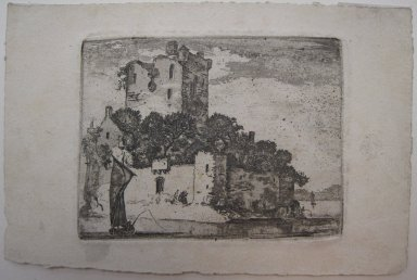John Clerk of Eldin (British, 1728-1812). Castle on Lake, n.d. Etching and aquatint on laid paper, 3 x 4 in. (7.6 x 10.1 cm). Brooklyn Museum, Gift of James K. Callaghan, 39.73