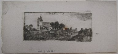 John Clerk of Eldin (British, 1728-1812). Kirk Liston, n.d. Etching and drypoint on laid paper, 1 1/8 x 2 11/16 in. (2.8 x 6.8 cm). Brooklyn Museum, Gift of James K. Callaghan, 39.74
