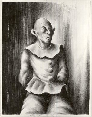 Russell T. Limbach (American, 1904-1971). Clown, 1938. Lithograph, beige stone printed in black on wove paper, 17 15/16 x 13 15/16 in. (45.6 x 35.4 cm). Brooklyn Museum, Dick S. Ramsay Fund, 39.8.4