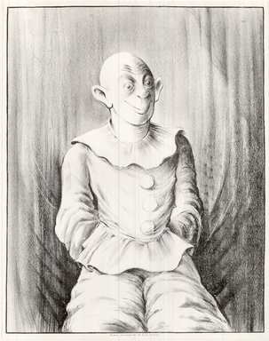 Russell T. Limbach (American, 1904-1971). Clown, 1938. Lithograph, blue stone printed in black on wove paper, 17 15/16 x 13 15/16 in. (45.6 x 35.4 cm). Brooklyn Museum, Dick S. Ramsay Fund, 39.8.6