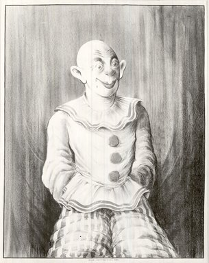 Russell T. Limbach (American, 1904-1971). Clown, 1938. Lithograph impression of blue stone over red stone on wove paper, 45 5/8 x 35 3/8 in. (115.8 x 89.9 cm). Brooklyn Museum, Dick S. Ramsay Fund, 39.8.7