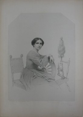 Eastman Johnson (American, 1824-1906). Marguerite, 1860. Lithograph on paper with top corners cut, mounted on paper, Sheet: 16 3/4 x 13 13/16 in. (42.5 x 35.1 cm). Brooklyn Museum, Gift of Mrs. William P. Hamilton and Grace Parsons Hart, 40.11