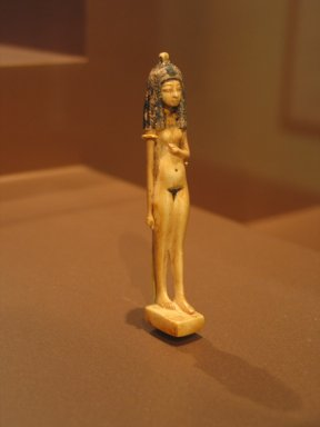 Statuette of a Nude Girl, ca. 1390-1353 B.C.E. Ivory, painted, 3 1/4 x 5/8 in. (8.3 x 1.6 cm). Brooklyn Museum, Charles Edwin Wilbour Fund, 40.126.2. Creative Commons-BY