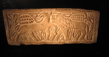 Coptic. Lion Attacking an Antelope, 6th century C.E., perhaps with modern reworking. Limestone, 8 11/16 x 21 7/16 x 2 3/8 in. (22 x 54.5 x 6 cm). Brooklyn Museum, Charles Edwin Wilbour Fund, 40.302. Creative Commons-BY