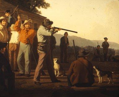 George Caleb Bingham (American, 1811-1879). Shooting for the Beef, 1850. Oil on canvas, 33 3/8 x 49 in. (84.8 x 124.5 cm). Brooklyn Museum, Dick S. Ramsay Fund, 40.342