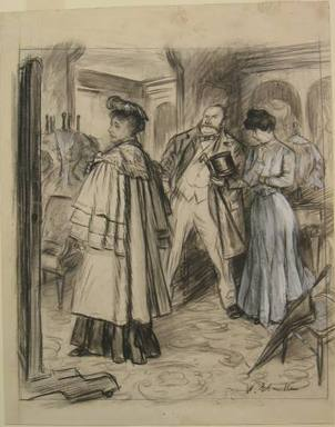 "William Glackens (American, 1870-1938). ""'My dear,' he instructed her patiently under the girl's approving eyes, 'you will find it always pays to get the best',"" 1906. Black conte crayon, watercolor, opaque watercolor, and graphite on cream, moderately thick, smooth wove paper, Sheet: 15 3/8 x 12 3/16 in. (39.1 x 31 cm). Brooklyn Museum, Dick S. Ramsay Fund, 40.55"