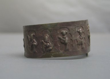 Pair of Bracelets with Open Back, 19th or 20th century. Silver and brass, A: 2 3/8 x 3 1/8 x 1 3/16 in. (6 x 8 x 3 cm). Brooklyn Museum, Gift of C. F. Bieber, 40.556a-b. Creative Commons-BY