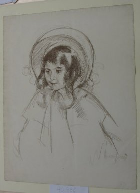 Mary Cassatt (American, 1844-1926). Young Girl with Bonnet, ca. 1904. Lithograph in bistre on laid paper, 58 x 19 in. (147.3 x 48.3 cm). Brooklyn Museum, Dick S. Ramsay Fund, 40.886