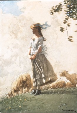 Winslow Homer (American, 1836-1910). Fresh Air, 1878. Watercolor with opaque white highlights over charcoal on cream, moderately thick, rough-textured wove paper, 20 1/16 x 14 in. (51 x 35.6 cm). Brooklyn Museum, Dick S. Ramsay Fund, 41.1087