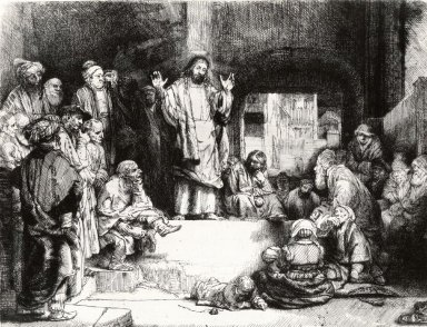 Rembrandt Harmensz. van Rijn (Dutch, 1606-1669). Christ Preaching (La Petite tombe), ca. 1652. Etching, drypoint, and burin on laid paper mounted to laid paper, Plate: 6 1/8 x 8 1/8 in. (15.6 x 20.6 cm). Brooklyn Museum, Gift of Harold K. Hochschild, 41.1106