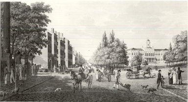 Carl Fredrick Akrell (Swedish, 1779-1868). Broadway gatan och Radhuset i New York 1819 after Klinckowstrom, n.d. Aquatint, etching; printed in ink on wove paper, 8 1/16 x 15 1/16 in. (20.4 x 38.2 cm). Brooklyn Museum, Gift of Harold K. Hochschild, 41.1109