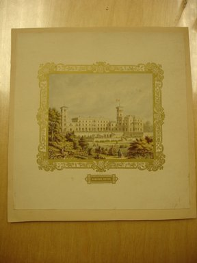 George Baxter (British, 1804-1867). Osbourne House, 19th century. Print glued on paper with printed gold frame, Sheet: 7 1/2 x 7 5/16 in. (19 x 18.5 cm). Brooklyn Museum, Gift of E. Newbrough, 41.1229