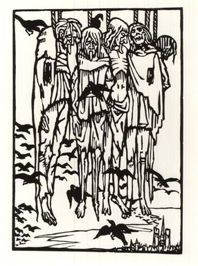 Émile Bernard (French, 1868-1941). The Hanged, 1918. Woodcut printed on laid paper, 11 1/16 x 7 11/16 in. (28.1 x 19.6 cm). Brooklyn Museum, Ella C. Woodward Memorial Fund, 41.217.3