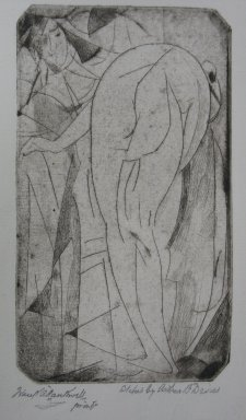 Arthur B. Davies (American, 1862-1928). Bathing Woman and Servant, 1917. Drypoint on zinc on old laid paper, Sheet: 9 1/8 x 7 3/8 in. (23.2 x 18.7 cm). Brooklyn Museum, Dick S. Ramsay Fund, 41.49