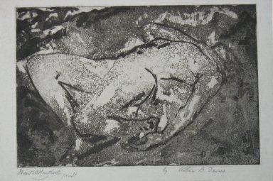 Arthur B. Davies (American, 1862-1928). Tragic Figure, 1920. Aquatint on old grey laid paper, Sheet: 7 5/8 x 10 1/4 in. (19.4 x 26 cm). Brooklyn Museum, Dick S. Ramsay Fund, 41.51