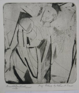 Arthur B. Davies (American, 1862-1928). Figure in Glass, 1926. Drypoint on zinc on wove paper, Sheet: 9 1/2 x 8 15/16 in. (24.1 x 22.7 cm). Brooklyn Museum, Dick S. Ramsay Fund, 41.52. © Estate of Arthur B. Davies