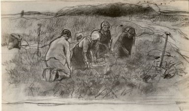 Anton Mauve (Dutch, 1838-1888). Four Peasants Working in a Field. Drawing in charcoal and white chalk on wove paper, 11 1/2 x 17 5/8 in. (29.2 x 44.8 cm). Brooklyn Museum, Gift of the Estate of Mrs. William A. Putnam, 41.692
