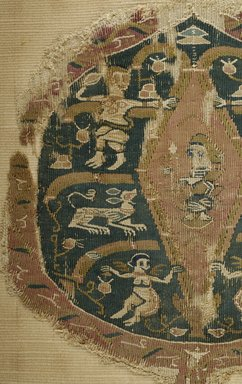 Coptic. Lance Shaped Textile, 7th-8th century C.E. Flax, wool, 10 x 8 3/4 in. (25.4 x 22.2 cm). Brooklyn Museum, Gift of Pratt Institute, 41.807. Creative Commons-BY