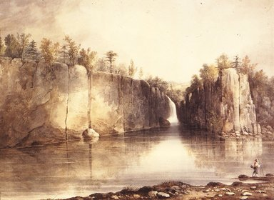 William Guy Wall (American, 1792-after 1864). Falls of the Passaic, ca. 1820. Transparent watercolor with touches of opaque watercolor over graphite on cream, moderately thick, moderately textured wove paper mounted to Japanese paper, 17 3/8 x 24 in. (44.1 x 61 cm). Brooklyn Museum, Dick S. Ramsay Fund, 42.108