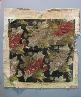 American. Needlework Cover for Chair Seat, 18th century or 19th century. Linen, wool thread, 22 1/4 x 24 in. (56.5 x 61 cm). Brooklyn Museum, Gift of Arthur W. Clement, 42.215. Creative Commons-BY