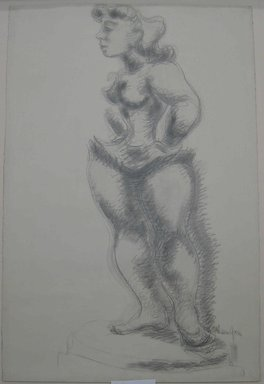 Chaim Gross (American, born Austria, 1904-1991). Study No. 2 for Ballerina, ca. 1940. Graphite on paper, Sheet: 38 x 25 5/16 in. (96.5 x 64.3 cm). Brooklyn Museum, Designated Purchase Fund, 42.417. © Renee and Chaim Gross Foundation