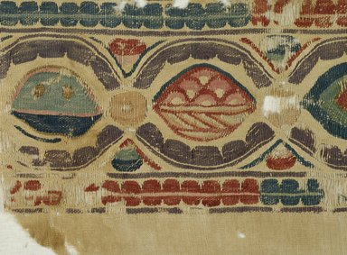 Coptic. Tapestry Woven Polychromed band, 5th century C.E. Flax, wool, 8 1/4 x 44 1/2 in. (21 x 113 cm). Brooklyn Museum, Gift of Pratt Institute, 42.438.5. Creative Commons-BY
