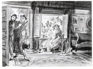Everett Shinn (American, 1876-1953). I Hurried Out, Pushing M. Pomponne Before Me, 1906. Conté crayon on paper, Sheet: 15 1/2 x 21 5/8 in. (39.4 x 54.9 cm). Brooklyn Museum, Dick S. Ramsay Fund, 42.99