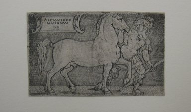 Hans Sebald Beham (German, 1500-1550). Alexander the Great Leading Bucephalos, n.d. Etching, Image: 1 3/4 x 2 7/8 in. (4.4 x 7.3 cm). Brooklyn Museum, Gift of J. Oettinger, 43.117.12