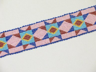 Great Lakes (Native American). Woven, Beadwork Headband, 20th century. Beads, hide, 24 13/16 x 1 7/8 in. (63 x 4.8 cm). Brooklyn Museum, Anonymous gift in memory of Dr. Harlow Brooks, 43.201.50. Creative Commons-BY
