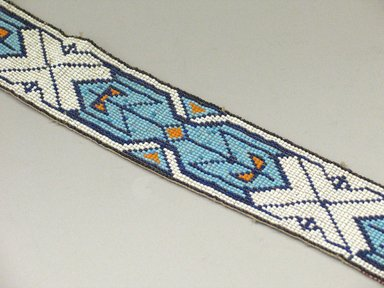 Plains (Native American). Headband, 20th century. Beads, cotton, 29 15/16 x 2 3/16 in. (76 x 5.6 cm). Brooklyn Museum, Anonymous gift in memory of Dr. Harlow Brooks, 43.201.53. Creative Commons-BY