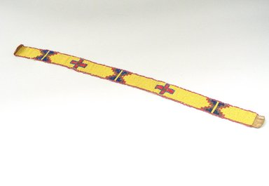 Sioux (Native American). Woven, Beaded Headband, 1900-1940. Beads, hide, string, 25 x 1 5/8 in. (63.5 x 4.1 cm). Brooklyn Museum, Anonymous gift in memory of Dr. Harlow Brooks, 43.201.54. Creative Commons-BY