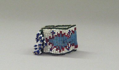 Plains (Native American). One of a Pair of Tiny, Woven, Beaded Bracelets, 20th century. Beads, 2 3/4 x 1 3/8in. (7 x 3.5cm). Brooklyn Museum, Anonymous gift in memory of Dr. Harlow Brooks, 43.201.58b. Creative Commons-BY