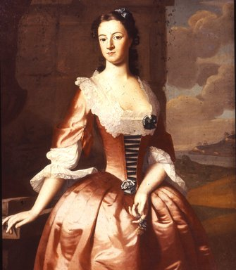 Robert Feke (American, ca.1707-ca.1752). Portrait of a Woman, 1748. Oil on canvas, 49 3/8 x 39 9/16 in. (125.4 x 100.5 cm). Brooklyn Museum, Dick S. Ramsay Fund and Museum Purchase Fund, 43.229