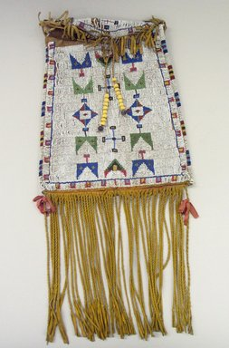 Cheyenne (Native American). Medicine Bag, late 19th century. Rawhide, beads, metal, ribbon, 11 13/16 x 9 5/8 in. (30 x 24.4 cm). Brooklyn Museum, Gift as a memorial to Dr. Harlow Brooks, 43.87.77. Creative Commons-BY