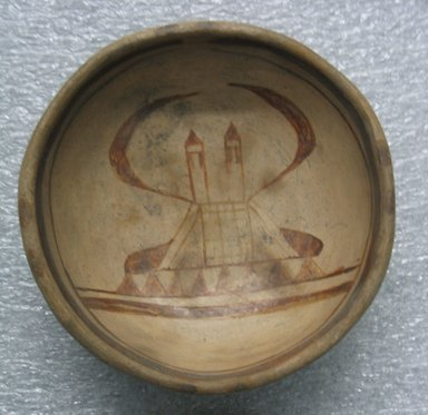 Hopi Pueblo (Native American). Small Bowl with Image of Church on Interior, ca 19th century. Clay, slip, 3.7 x 10.7 diam. cm. Brooklyn Museum, Gift of Edith Walker Jackson, 43.98. Creative Commons-BY